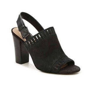 Tahari Black Maya Laser-Cut Slingback Sandals